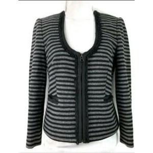 J. Crew Tweed Striped Zip Blazer SZ 4